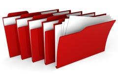 rotes Dossier 3d auf weißem Hintergrund Stockfotografie