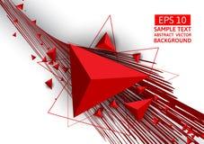 Rotes Dreieck und Linie abstrakter Vektorhintergrund mit Kopienraum Stockfotografie