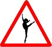 Rotes dreieckiges Verkehrsschild der Balletttänzer-Tanzschule-Vorsicht lokalisiert auf weißem Hintergrund Stockbilder