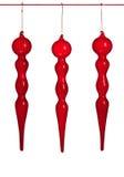 Rotes durchgebranntes Glasweihnachten verziert das getrennte ~ stockbilder