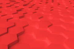 Rotes einfarbiges Hexagon deckt abstrakten Hintergrund mit Ziegeln Stockfoto