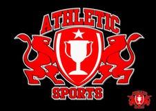 rotes Emblem des athletischen Sports 3D auf schwarzem Hintergrund vektor abbildung