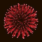 Rotes erstaunliches Feuerwerk oben lokalisiert im dunklen Hintergrundabschluß für 4 von Juli, Unabhängigkeitstag, Karte des neuen vektor abbildung