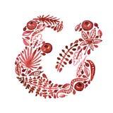 Rotes Etzeichen des Aquarellnatur-Vektors mit Blättern, Granaten und anderen Anlagen (Grün) lizenzfreie abbildung
