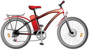 Rotes Fahrrad mit Energiebatterie Stockfotos