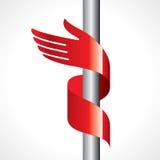 Rotes Farbband in der Form der Hand Lizenzfreies Stockfoto
