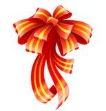 Rotes Farbband für Weihnachtsgeschenkdekoration Stockbilder