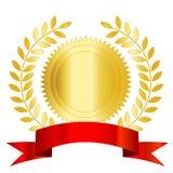 Rotes Farbband und Lorbeer der Golddichtung Lizenzfreie Stockbilder