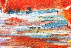 Rotes Farbenölgemälde Stockfotografie