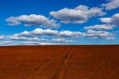 Rotes Feld für die Landwirtschaft mit Himmel und Wolken Lizenzfreie Stockfotografie