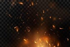 Rotes Feuer funkt den Vektor, der oben fliegt Brennende glühende Partikel Flamme des Feuers mit Funken in der Luft in einer dunkl Stockbilder