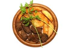 Rotes Fleisch und Kartoffel Stockfotografie