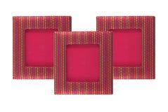 Rotes Fotofeld auf weißem Hintergrund Stockfotos