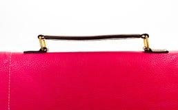 Rotes Frauenhandtaschenleder mit Griffen Lizenzfreie Stockfotografie