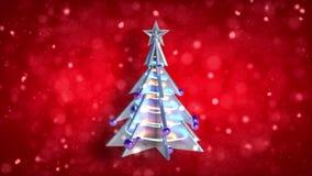 Rotes Funkeln v2 der Weihnachtsdekorationsweihnachtsbaum-Schleife stock footage