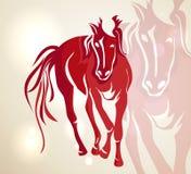 Rotes gehendes Pferd des Chinesischen Neujahrsfests 2014 Stockbild