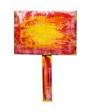 Rotes gelbes Holzschild, lokalisiert auf Weiß Stockfoto