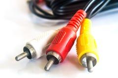 Rotes, gelbes, weißes Kabel Stockfotos