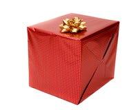 Rotes Geschenk auf Weiß Stockfoto