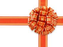 Rotes Geschenk-Farbband über Weiß Stockfoto