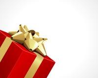 Rotes Geschenk mit Goldbogen Stockbilder