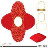 Rotes Geschenkboxdesign mit Aufkleber Stockbilder