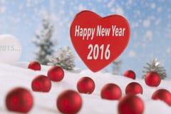 Rotes Gewebeherz mit guten Rutsch ins Neue Jahr Lizenzfreies Stockbild