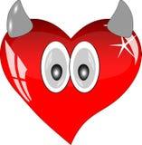 Rotes Glasherz mit Augen und Hörnern stock abbildung