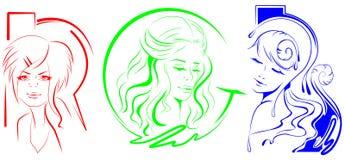 Rotes grün-blaues Mädchen Stock Abbildung