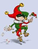 Rotes Grün des Harlekins tanzt mit Karten u. Marionette lizenzfreie abbildung