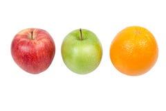 Rotes Grünes Apples und orange Lizenzfreies Stockfoto