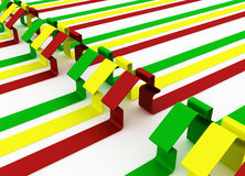 Rotes, grünes und gelbes Metapherhaus Lizenzfreie Stockbilder