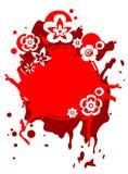 Rotes grunge blüht Feld lizenzfreie abbildung