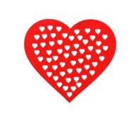 Rotes hölzernes Herz, lokalisiert auf weißem Hintergrund dekoratives Herz für Valentinstag Stockfoto