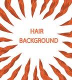 Rotes Haar auf einem weißen Hintergrund Stockbild