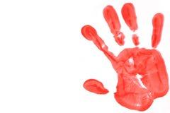 Rotes handprint auf einem weißen Hintergrund stockbild