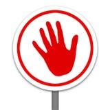 Rotes Handwarning, Endzeichen Stockbilder