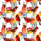 Rotes hauptsächliches Muster des Himmelvogels in wild lebenden Tieren durch Aquarellart Lizenzfreie Stockbilder