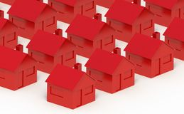 Rotes Haus auf einem weißen Hintergrund Stockbilder