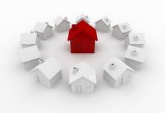 Rotes Haus in einem Kreis Stockfoto