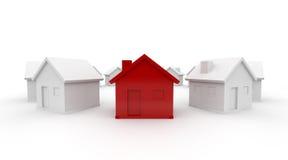 Rotes Haus in einem Kreis Lizenzfreie Stockbilder