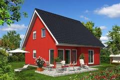 Rotes Haus im Garten vektor abbildung