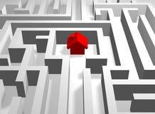 Rotes Haus im Labyrinth Stockfotografie