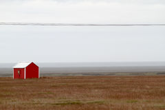 Rotes Haus in Island lizenzfreie stockfotografie