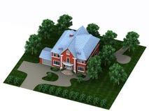 Rotes Haus mit einem Plan Stockfotos