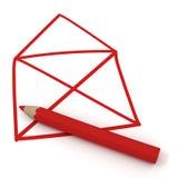 Rotes Haus und Bleistift Lizenzfreie Stockfotos