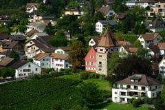Rotes Haus, Vaduz, Liechtenstein Stockfotografie