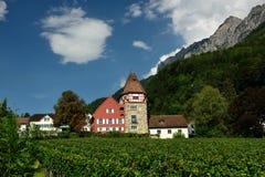 Rotes Haus, Vaduz, Liechtenstein Stock Fotografie