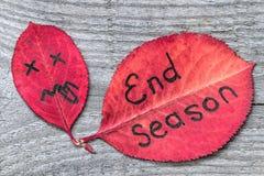 Rotes Herbstblatt mit dem Ekelgesicht, das Zunge zeigt und Blatt mit der Aufschrift BEENDEN JAHRESZEIT Stockfotografie