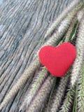 Rotes Herz auf altem hölzernem Hintergrund Lizenzfreies Stockfoto